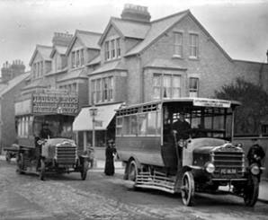 Two early Daimler motor buses at the junction of Southfield Road, Oxford, 1909-1919
