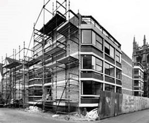 View of a new Corpus Christi College building under construction, on Magpie Lane, Oxford, 1969