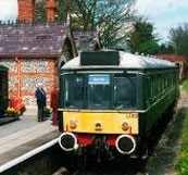 Rebuilt railway station with diesel multiple unit at platform, Chinnor, Oxfordshire, 2001