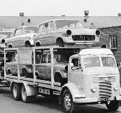 Shipment of finished Hillman Minx bodies to Coventry by car transporter YFC 720 from Pressed Steel Company Ltd., Cowley works, Oxford, 1959