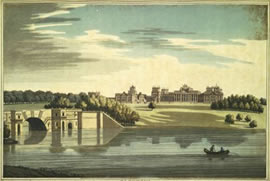Colour engraving of Blenheim, by  J Farington, 1793