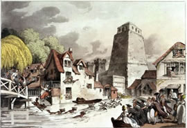 Aquatint engraving of Oxford Castle, 1809, by R Ackermann